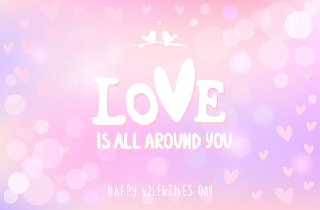 Happy Valentines Card With Text On Amazing Gentle Background ...