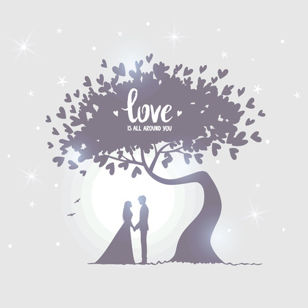 happy couple: Romantic silhouette of loving couple under amazing tree with hearts in the moonlight. Valentines Day. Happy Lovers. Beautiful romantic card. Vector illustration Illustration