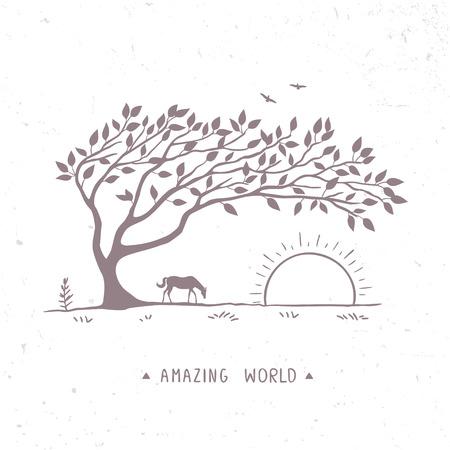 tree: Landscape tree Illustration