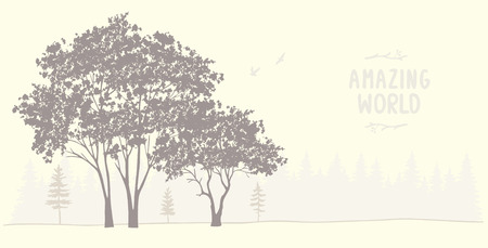 grunge tree: Beautiful and amazing silhouette of grunge tree. Stylish vector illustration. Panoramic view nature Illustration