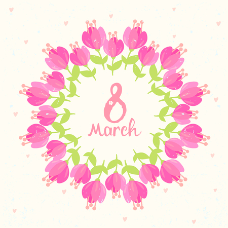 decor graphic: Stylish beautiful floral wreath with 8 March text.