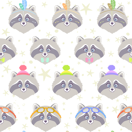 pompon: Seamless pattern with character cute and funny raccoon in cartoon style.