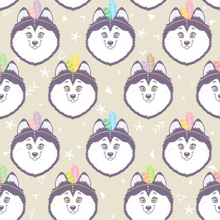 Husky seamless background Vector Illustration