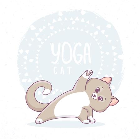 Cute cartoon cat practicing yoga. Vector illustration. Childrens yoga