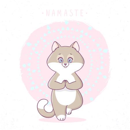 friendliness: Cute cartoon cat practicing yoga. Asana tree. Vector illustration. Childrens yoga