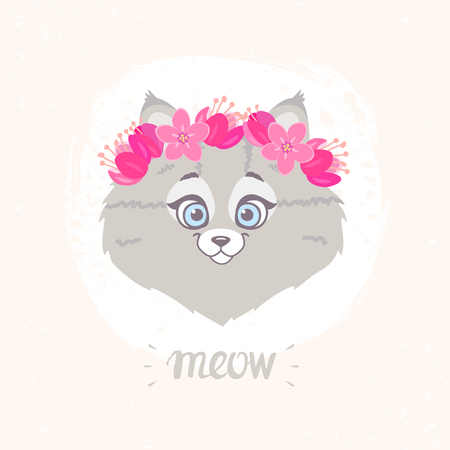 Cute and funny character cat with a floral wreath on head. Vector illustration Illustration