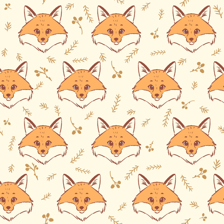 illustration cool: Seamless pattern with cute and fox. Cool stylish wallpaper. Vector illustration