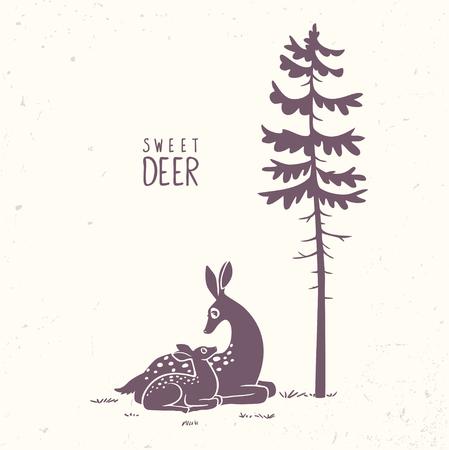 Deer fawn silhouette