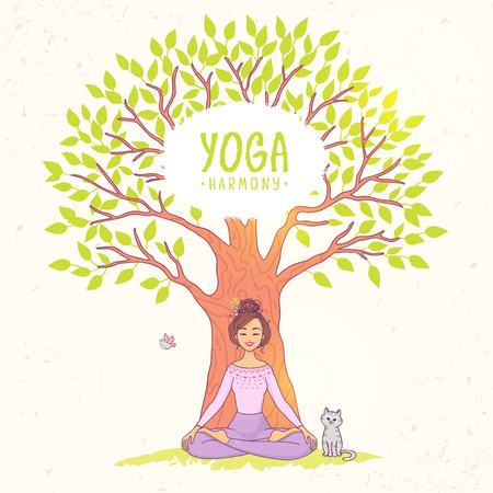 girl pose: Amazing cartoon girl in yoga lotus pose under a big tree with cat. Practicing yoga. Vector illustration. Young and happy woman meditates. Illustration