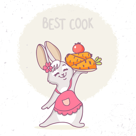 Super cute and funny bunny in cook apron holding a cake of carrots. Vector illustration. Healthy food