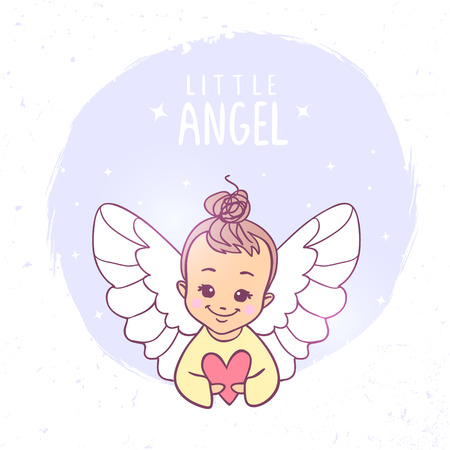 Beautiful and pretty cartoon little angel with heart. Vector illustration. Childrens illustration Illustration