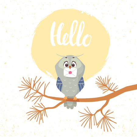 Beautiful and funny owl sitting on a branch pine tree with letter in the beak. Funny bird. Childrens illustration. Stylish vector illustration Illustration