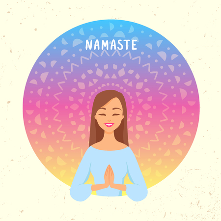 Amazing cartoon girl in greeting pose namaste. Practicing yoga. Vector illustration. Young and happy woman meditates Иллюстрация
