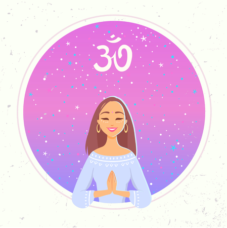 Amazing cartoon girl in greeting pose namaste. Practicing yoga. Vector illustration. Young and happy woman meditates Illustration