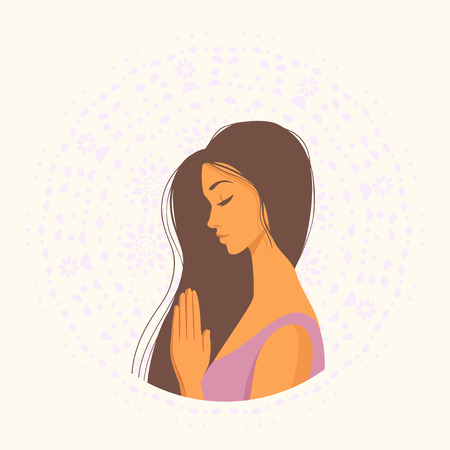 beautiful girl namaste Illustration