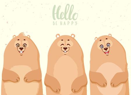 Super cute and funny three cartoon bears. Character bears. Childrens illustration. Stylish vector illustration