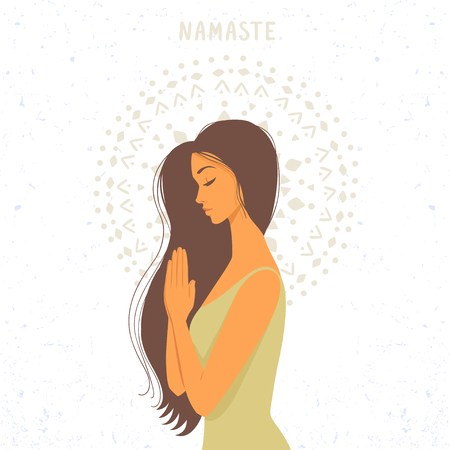 Amazing cartoon girl in greeting pose namaste. Practicing yoga. Vector illustration. 矢量图像