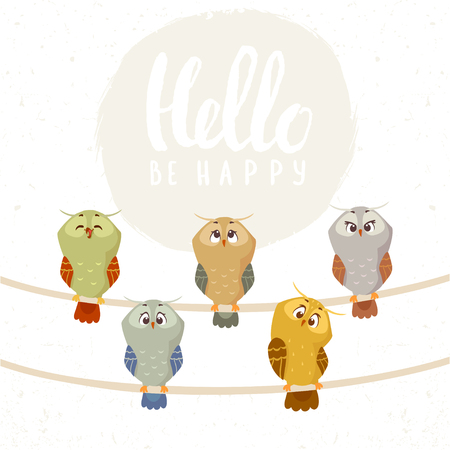 conifer: Beautiful and funny five different owls. Funny bird. Childrens illustration. Stylish vector illustration