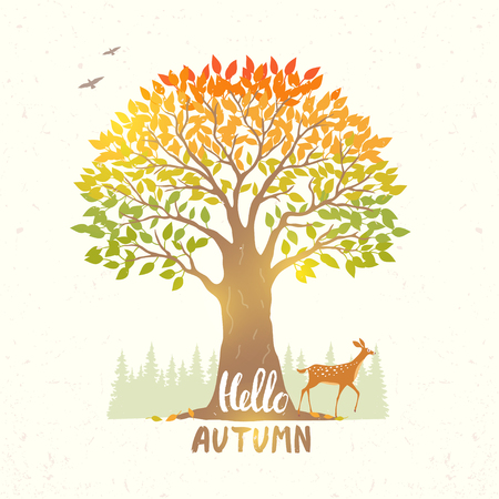 gently: Beautiful nature with amazing big tree and deer. Autumn nature. Vector illustration Illustration