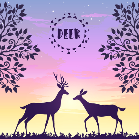 gently: Beautiful silhouette of two stylized deer walk during a beautiful sunset. Stylish vector illustration. Silhouette Deer