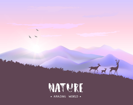 Beautiful view on a mountains and a herd of deer during dawn. Stylish vector illustration Stock Illustratie