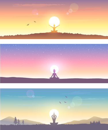 Web banner design background or header Templates. Amazing silhouette woman sit in Lotus pose and welcomes the sun. Practicing yoga. Vector illustration. Ilustração