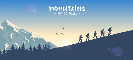 Silhouette traveling people. Climbing on mountain. Vector illustration hiking and climbing team
