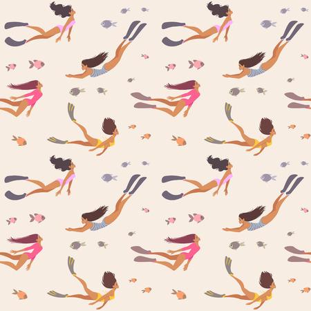seamless girl pattern Иллюстрация