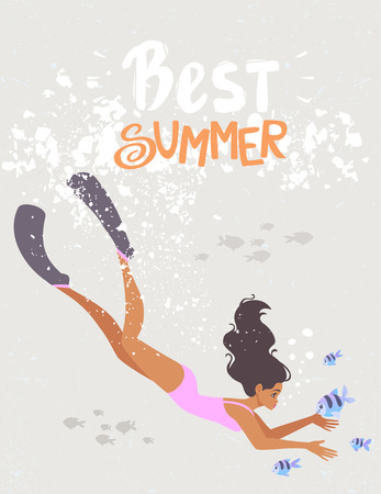 Cartoon summer girl dive underwater with tropical fishes. Vector illustration Иллюстрация