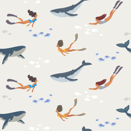Summer seamless pattern with beautiful girls and whales swimming underwater. Cool wallpaper.