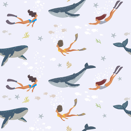 Summer seamless pattern with beautiful girls and whales swimming underwater. Cool wallpaper illustration.