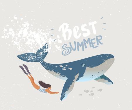Cartoon summer girl dive underwater with whale illustration. Иллюстрация