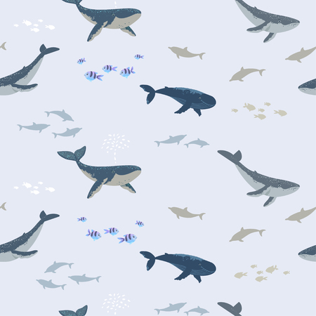 Summer seamless pattern with beautiful whales and fishes. Cool wallpaper illustration.