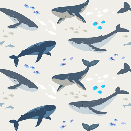 Summer seamless pattern with beautiful whales and fishes. Cool wallpaper. Vector illustration