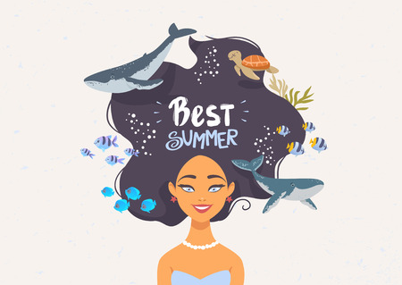 Cartoon summer girl with long hair and whales and fishes. Vector illustration