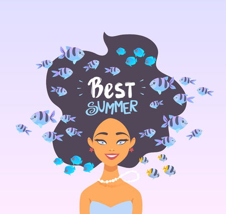 Cartoon summer girl underwater with fishes. Summer time poster. Vector illustration