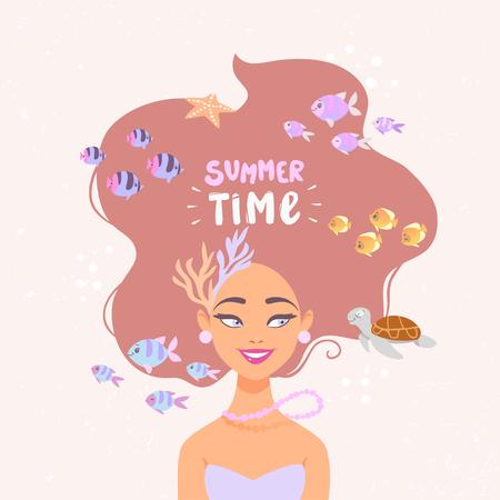 Cartoon summer girl underwater where turtles swim and fishes. Vector illustration