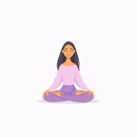 Amazing cartoon girl in yoga lotus pose. Practicing yoga. Vector illustration. Young and happy woman meditates
