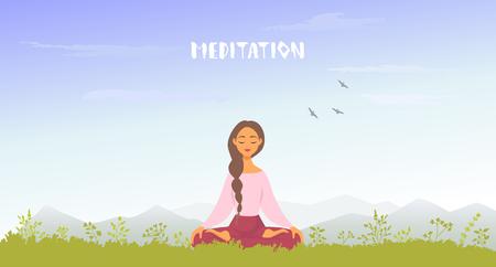 meditation mountains Иллюстрация