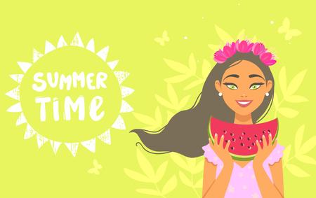 girl summertime Иллюстрация