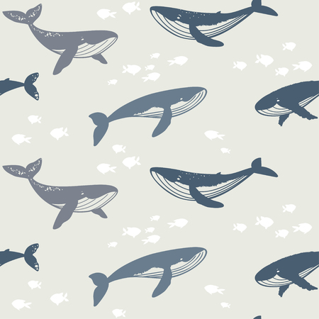 seamless whales silhouette