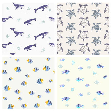 Collection of summer seamless pattern with beautiful whales, turtles and fishes. Cool wallpaper. Vector illustration
