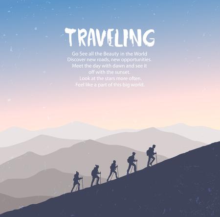 climbing mountains Иллюстрация