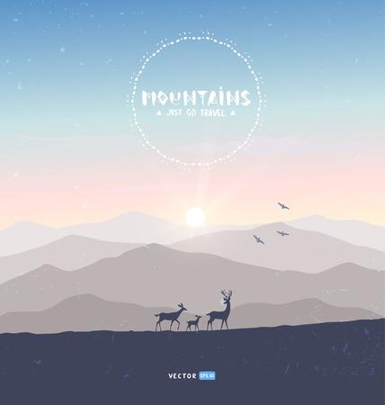 mountains deer