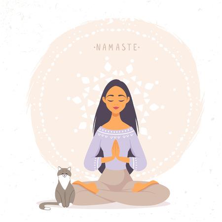 Girl with cat namaste