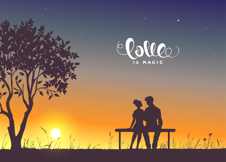 Happy Valentines Day illustration. Romantic silhouette of loving couple sit on a bench near a tree. Vector illustration Иллюстрация