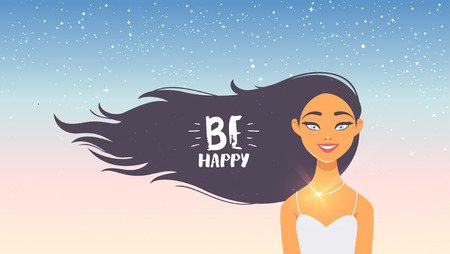 Gorgeous brunette lady with long hair and sample text. Vector illustration. Young and happy woman Иллюстрация