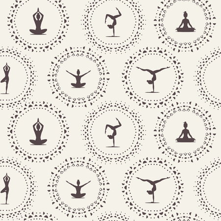 Beautiful seamless pattern with amazing silhouette womans practicing yoga in. Vector illustration Ilustração