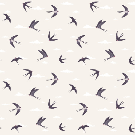 Beautiful seamless pattern with swallows. Vector illustration