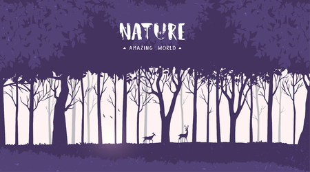 Beautiful and stylish background with silhouette forest tall trees and deer. Vector illustration